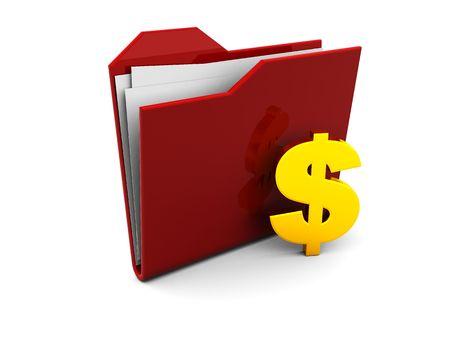 3d illustration of red folder icon or symbol with golden dollar sign illustration