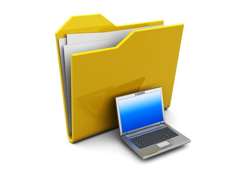 3d illustration of folder icon with laptop illustration