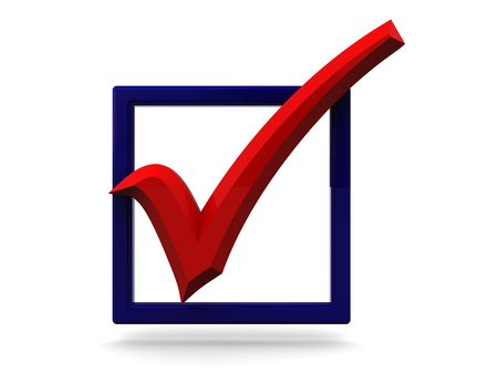 checked: 3d illustration of blue checkbox with red tick