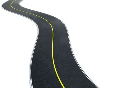 curvy: 3d illustration of curvy asphalt road over white background Stock Photo