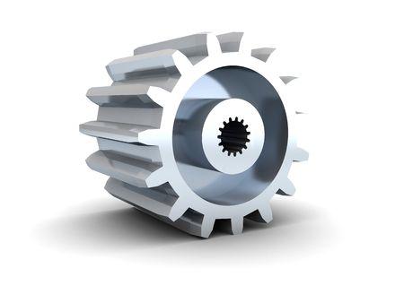 3d illustration of gear wheel over white background illustration