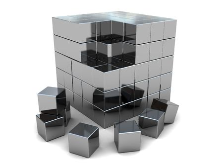 cube puzzle: 3d illustration of steel cube built from blocks