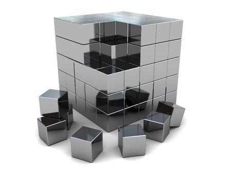 3d illustration of steel cube built from blocks