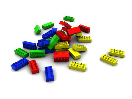 3d illustration of colorful blocks over white background illustration