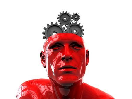 3d illustration of human head with gear wheels inside