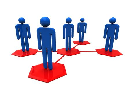 3d illustration of social network over white background
