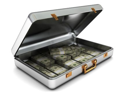 3d illustration of steel case with money over white background Stock Photo