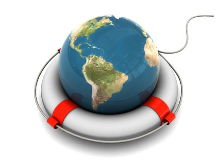 3d illustration of earth globe in rescue circle Stock Illustration - 4887484