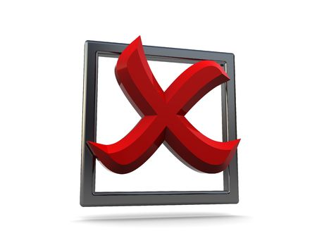 3d illustration of checkbox with red cross inside Stock Illustration - 4887486