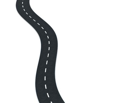 road marking: 3d illustration of asphalt road isolated on white, top view Stock Photo