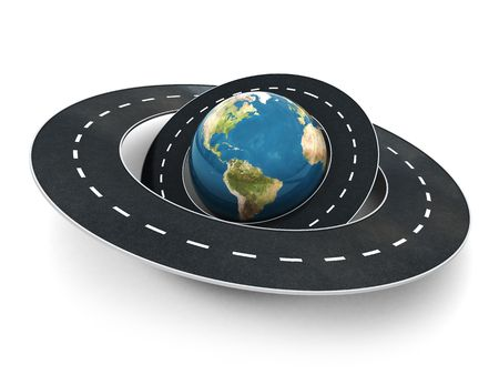 drive around the world: 3d illustration of earth globe and roads around it Stock Photo