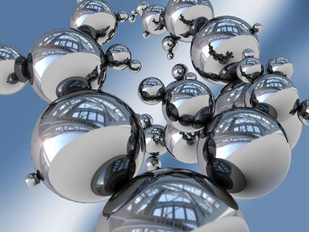 steel balls: abstract 3d illustration of steel balls structure