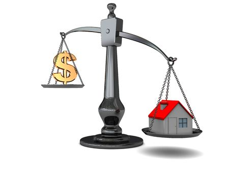 3d illustration of scale with house and dollar sign Stock Illustration - 4896807