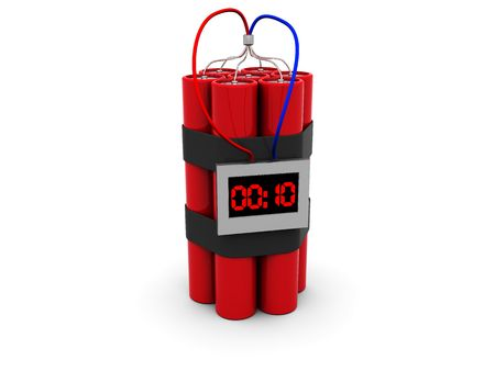 3d illustration of dynamite with timer over white background Stock Illustration - 4896823