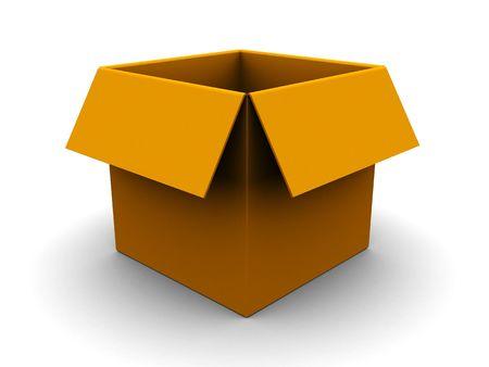 3d illustration of empty carton box over white background Stock Illustration - 4896822