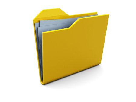3d illustration of folder icon or symbol with blue paper stack illustration