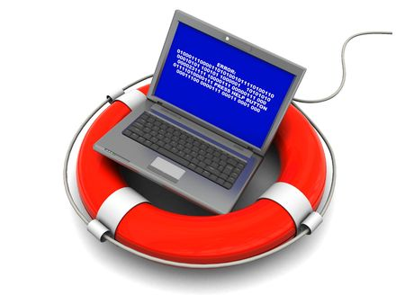 3d illustration of laptop with error screen on rescue circle Stock Illustration - 4896813