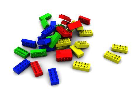 3d illustration of colorful lego blocks over white background illustration