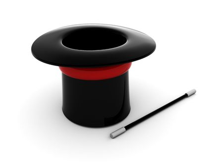 3d illustration of magic hat and wand over white background