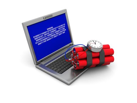 3d illustration of laptop with error screen and dynamite, over white background