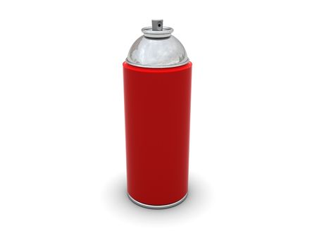 3d illustration of red spray can over white background