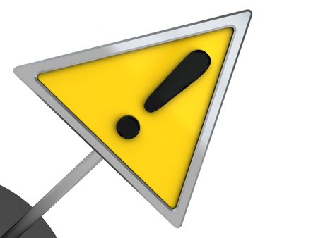 yellow attention: 3d illustration of yellow attention symbol over white background