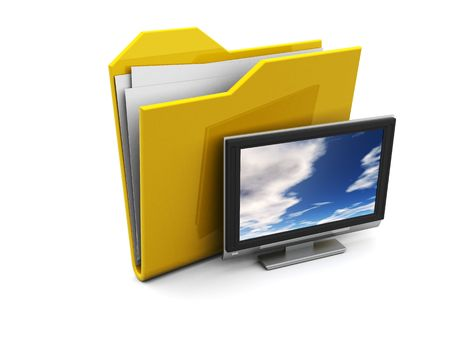 3d illustration of folder icon with tv, over white background illustration