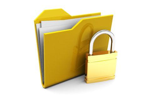 3d illustration of folder icon and lock, over white background illustration