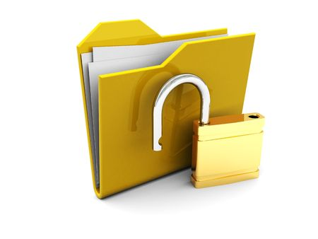 3d illustration of folder icon with opened lock Stock Photo