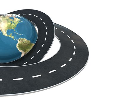 3d illustration of background with earth globe and roads at left side Stock Photo