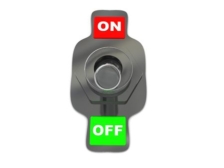 3d illustration of metal on-off switch over white background Stock Illustration - 4934283