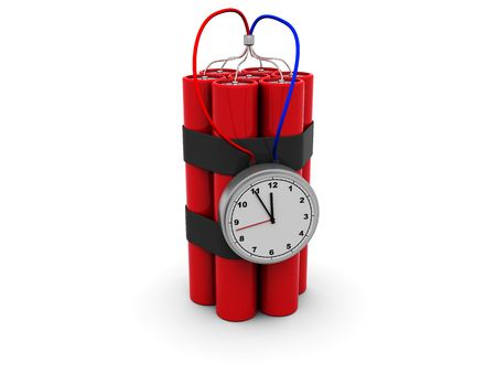 3d illustration of bomb with clock timer Stock Illustration - 4934242
