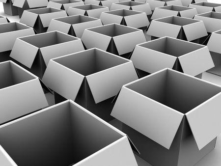 3d illustration of many empty carton boxes Stock Illustration - 4934320