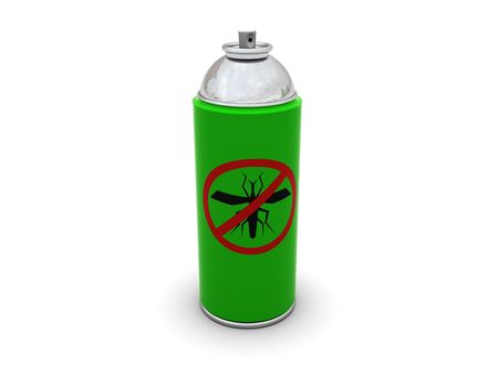 3d illustration of anti mosquito spray can over white background illustration