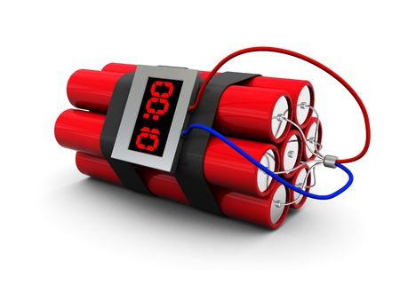 detonator: 3d illustration of dynamite with timer over white background