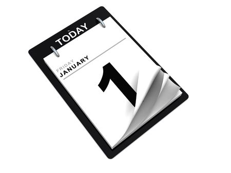 end of the days: 3d illustration of calendar over white background