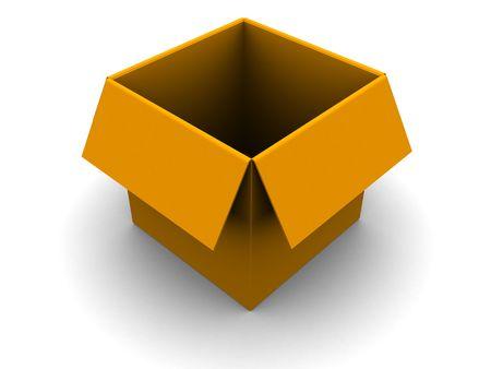 3d illustration of empty orange box over white background Stock Illustration - 5023080
