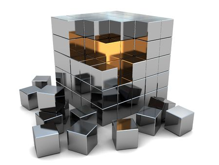 metall: abstract 3d illustration of steel cube puzzle with gold inside