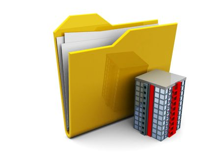 3d illustration of folder icon or symbol with office building Stock Illustration - 5023102