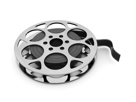 3d illustration of film reel over white background