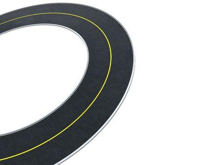 3d illustration of road circle at left side of white background illustration