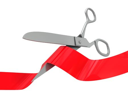 3d illustration of scissors and red ribbon isolated over white background illustration