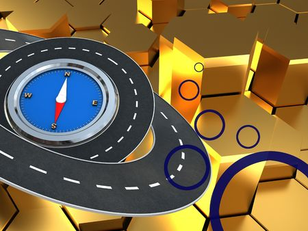 ring road: abstract 3d illustration of colorful background