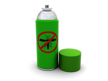 3d illustration of anti-mosquito spray with cap, over white background illustration