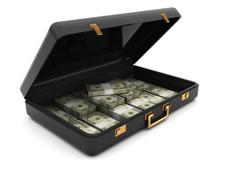 stealing money: 3d illustration of black suitcase with dollars