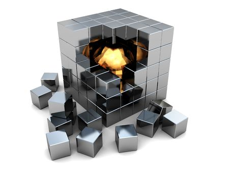 metall: abstract 3d illustration of steel cube with golden ball inside
