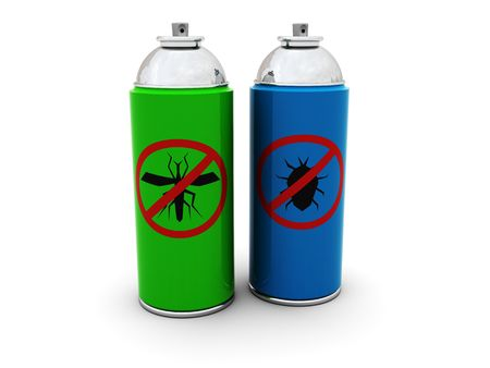 3d illustration of insecticide spray cans over white background illustration