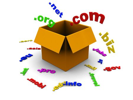 domains: 3d illustration of box with domain names inside