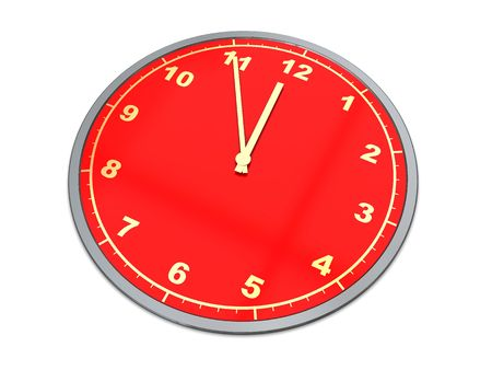 3d illustration of red clock over white background illustration