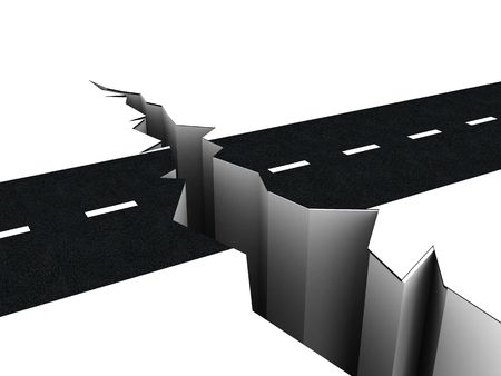 3d illustration of road crack over white background illustration